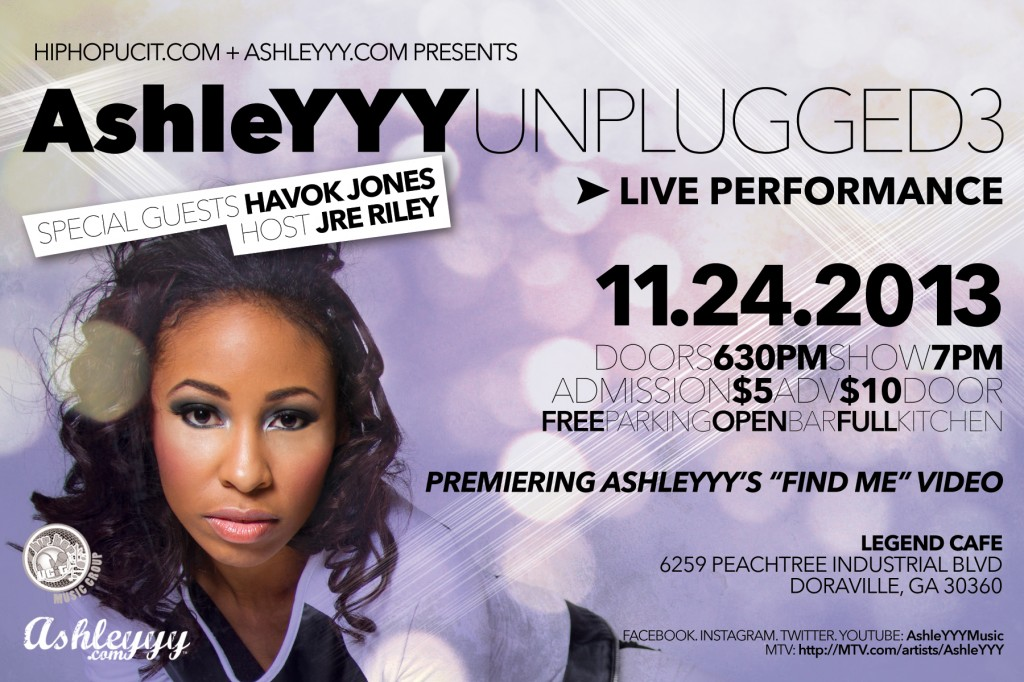 AshleYYY Unplugged 3 Flyer